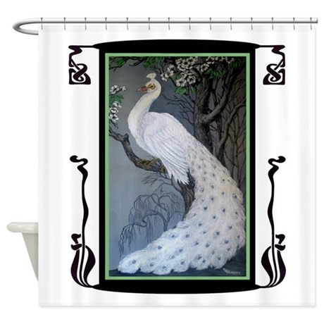 White Peacock Shower Curtain