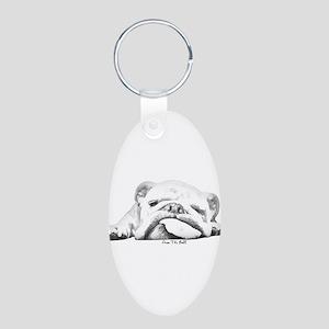 Sleepy Head Aluminum Oval Keychain