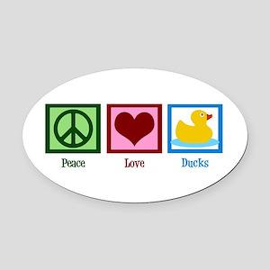 Peace Love Ducks Oval Car Magnet