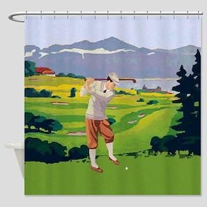 Vintage Style golf Highlands Golfing Scene Shower