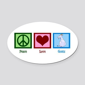 Peace Love Goats Oval Car Magnet