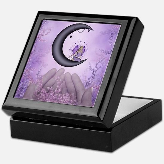 Wonderful fairy on the moon Keepsake Box