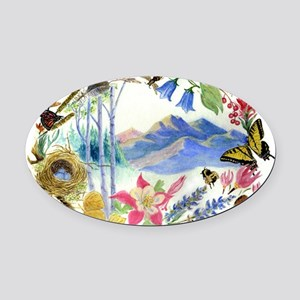 Mountain Wildflowers Oval Car Magnet