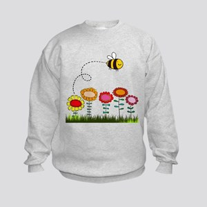 Bee Buzzing a Flower Garden Kids Sweatshirt