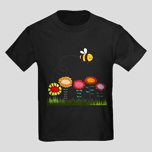 Bee Buzzing a Flower Garden Kids Dark T-Shirt
