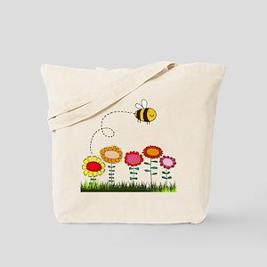 Bee Buzzing a Flower Garden Tote Bag
