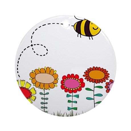 Bee Buzzing a Flower Garden Ornament (Round)
