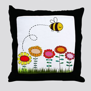 Bee Buzzing a Flower Garden Throw Pillow