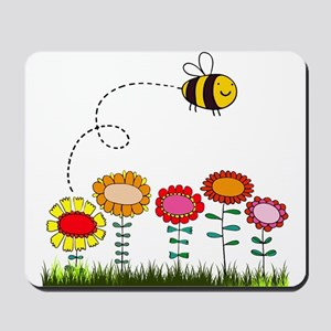 Bee Buzzing a Flower Garden Mousepad