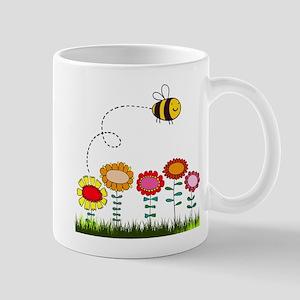 Bee Buzzing a Flower Garden Mug
