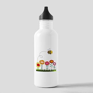 Bee Buzzing a Flower Garden Stainless Water Bottle