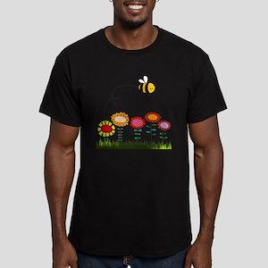 Bee Buzzing a Flower Garden Men's Fitted T-Shirt (
