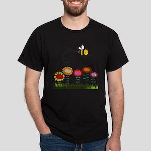 Bee Buzzing a Flower Garden Dark T-Shirt