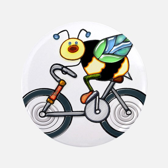 """Bee on a Bike 3.5"""" Button"""