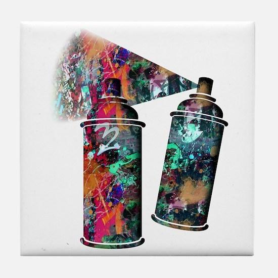 Graffiti and Paint Splatter Spray Can Tile Coaster