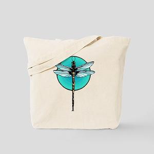 Graphic Dragonfly in Aqua Circle Tote Bag