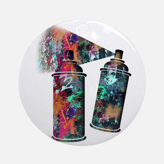 Graffiti and Paint Splatter Spray C Round Ornament