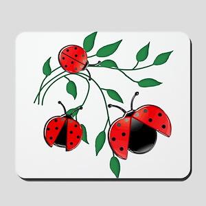 Delicate Ladybugs on Graceful Leaves Mousepad