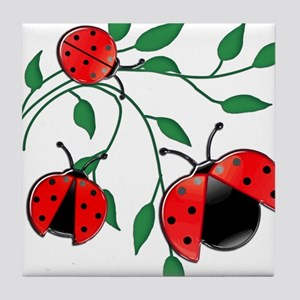 Delicate Ladybugs on Graceful Leaves Tile Coaster