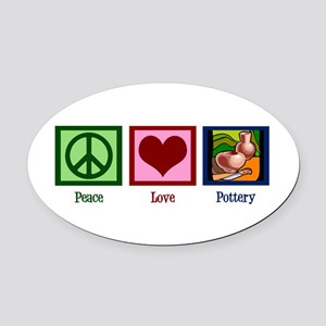Peace Love Pottery Oval Car Magnet
