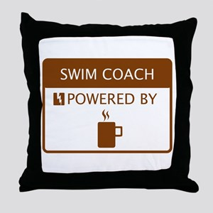 Swim Coach Powered by Coffee Throw Pillow