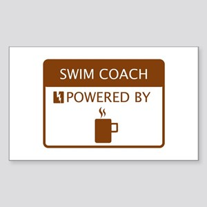 Swim Coach Powered by Coffee Sticker (Rectangle)