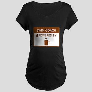 67425927878 Swim Coach Powered by Coffee Maternity Dark T-Shir