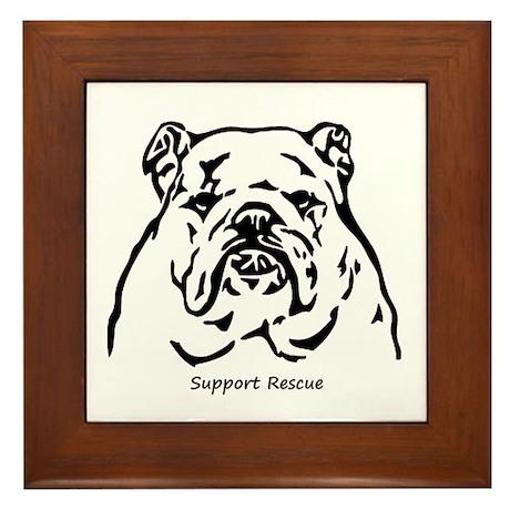 Bulldog Support Rescue Framed Tile