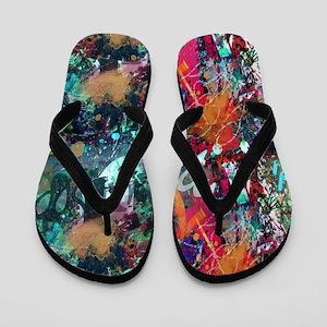 Graffiti and Paint Splatter Flip Flops
