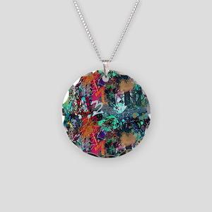 Graffiti and Paint Splatter Necklace Circle Charm