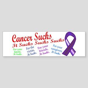 Cancer Sucks Purple Ribbon Sticker (Bumper)