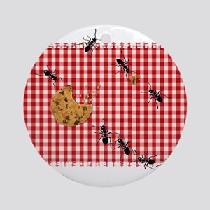 Picnic Ants Marching Across Red Checked Cloth Orna