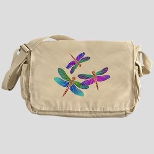 Dive Bombing Iridescent Dragonflies Messenger Bag
