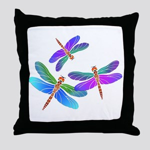 Dive Bombing Iridescent Dragonflies Throw Pillow