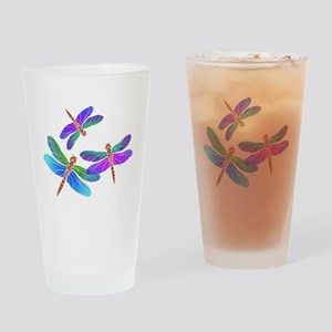 Dive Bombing Iridescent Dragonflies Drinking Glass