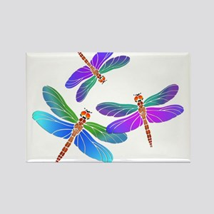 Dive Bombing Iridescent Dragonflies Rectangle Magn