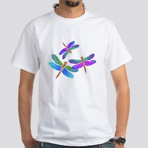 Dive Bombing Iridescent Dragonflies White T-Shirt