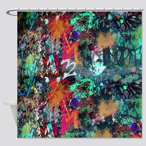 Graffiti and Paint Splatter Shower Curtain