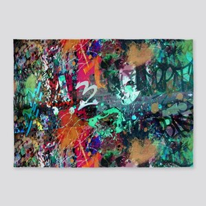 Graffiti and Paint Splatter 5'x7'Area Rug