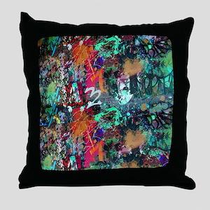 Graffiti and Paint Splatter Throw Pillow