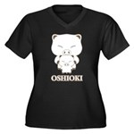 oshioki Women's Plus Size V-Neck Dark T-Shirt