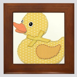 Yellow Calico Baby Duck with Yellow Bow Framed Til