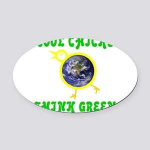 THINK GREEN Oval Car Magnet