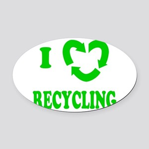 I LOVE RECYCLING Oval Car Magnet