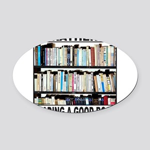 BOOK LOVER Oval Car Magnet