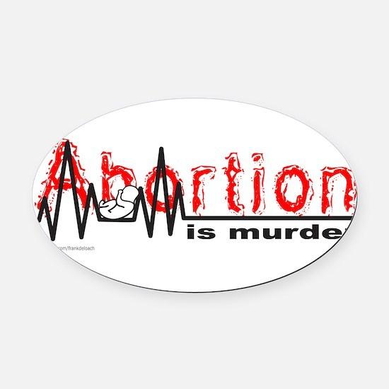 AbortionFlatLineNoBorder.png Oval Car Magnet