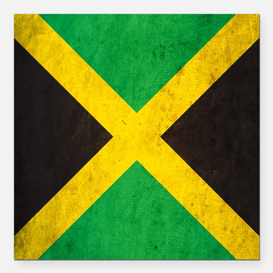 "Vintage Jamaica Flag Square Car Magnet 3"" x 3"""