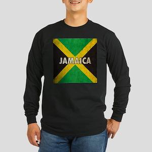 Jamaica Grunge Flag Long Sleeve Dark T-Shirt
