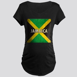 Jamaica Grunge Flag Maternity Dark T-Shirt