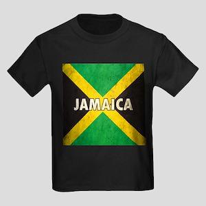 Jamaica Grunge Flag Kids Dark T-Shirt